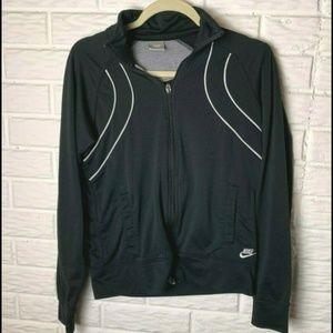 😊 Nike Jacket Size Medium Black White Piping